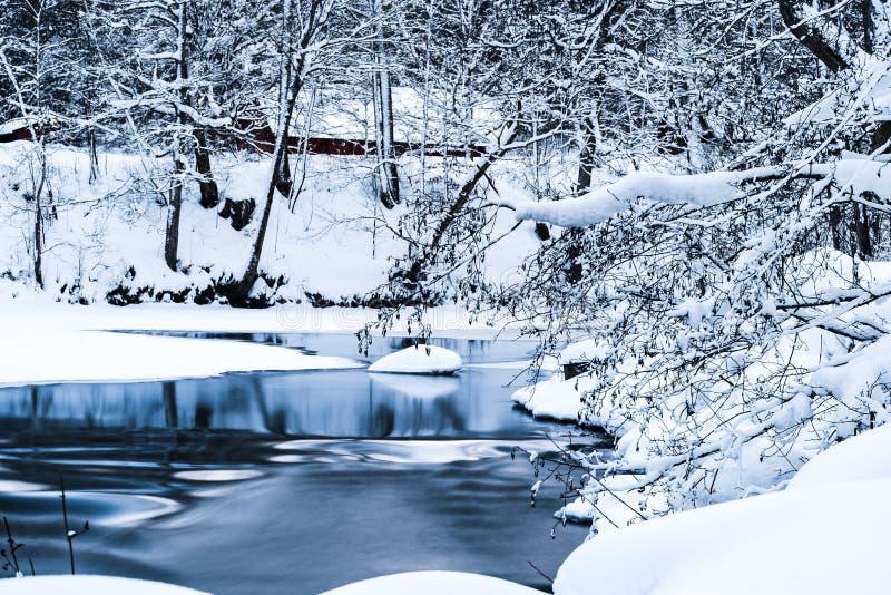 Corriente fría del invierno en los alrededores Nevado fotografía de archivo libre de regalías