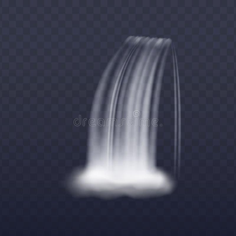 Corriente realista de la cascada aislada en el fondo transparente, chapoteo vertical del agua con vapor ilustración del vector