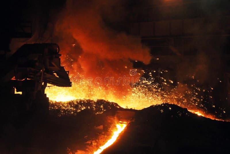 Corrientes del hierro fundido en un horno con las chispas imagen de archivo