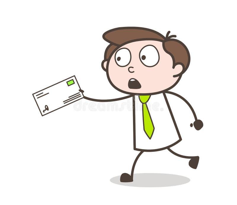 Corriere Boy Running del fumetto con la busta nel concetto di vettore di fretta illustrazione di stock
