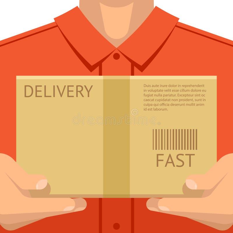Corriere che consegna le mani del pacchetto che tengono l'illustrazione piana di vettore di concetto del fondo di progettazione d illustrazione di stock