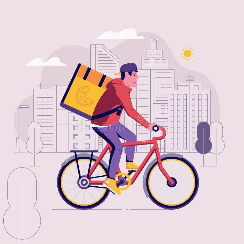 Corriere Man di consegna della bicicletta illustrazione di stock