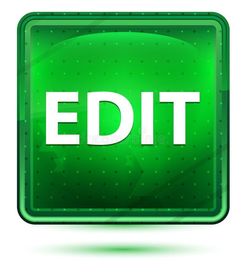 Corrija el botón cuadrado verde claro de neón stock de ilustración