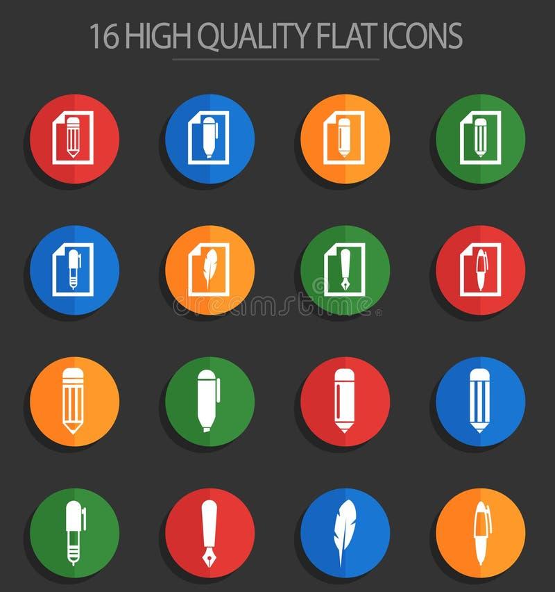 Corrija 16 iconos planos ilustración del vector