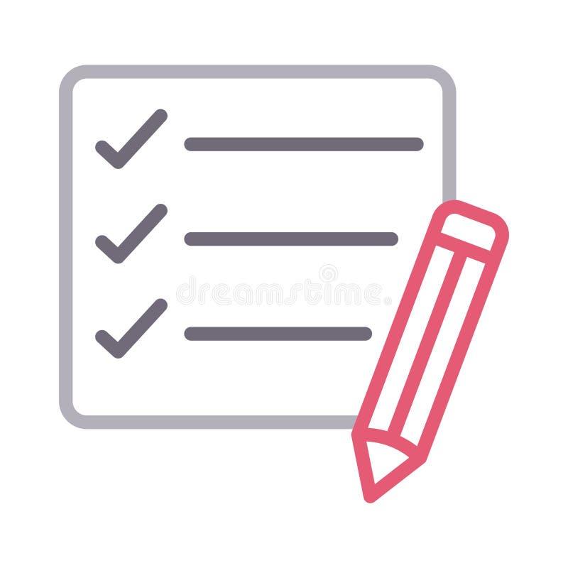 Corrija la línea de color fina de la lista de control icono del vector stock de ilustración