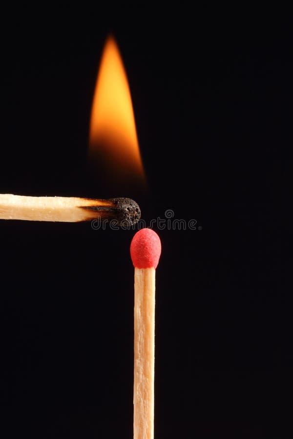 Corrispondenza burning due fotografia stock libera da diritti
