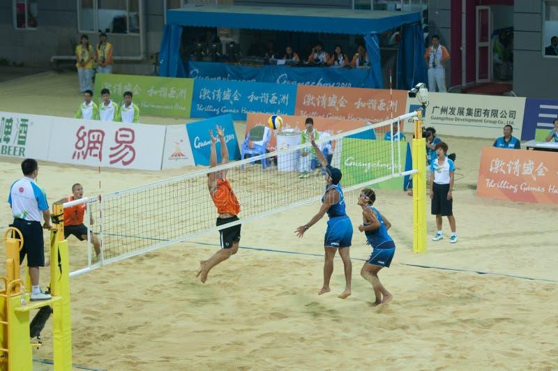 Corrispondenza della medaglia di bronzo di pallavolo della spiaggia immagine stock libera da diritti