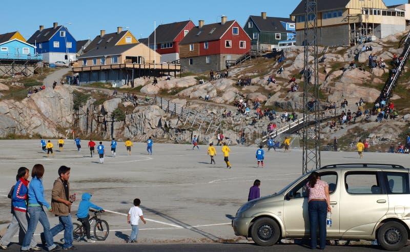 Corrispondenza di calcio, Groenlandia fotografia stock libera da diritti