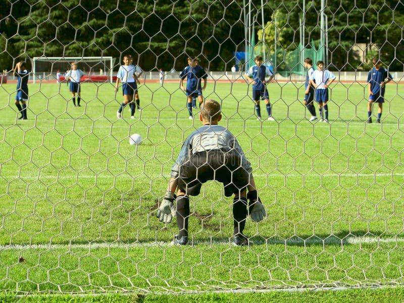 Corrispondenza di calcio. Portiere fotografie stock