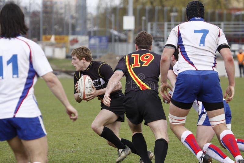 Corrispondenza di rugby - Repubblica ceca contro il Belgio fotografia stock