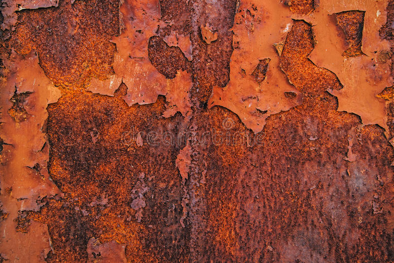 Corroded steel iron plate texture. Oxidized red metallic surface stock photography