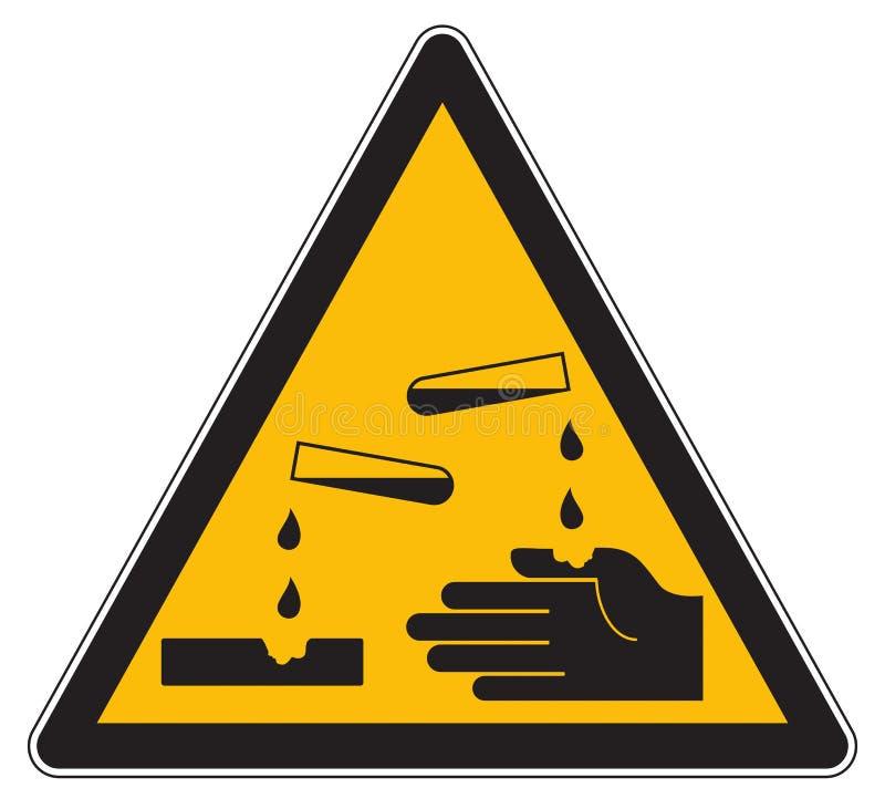 Corrosief waarschuwings geel teken vector illustratie