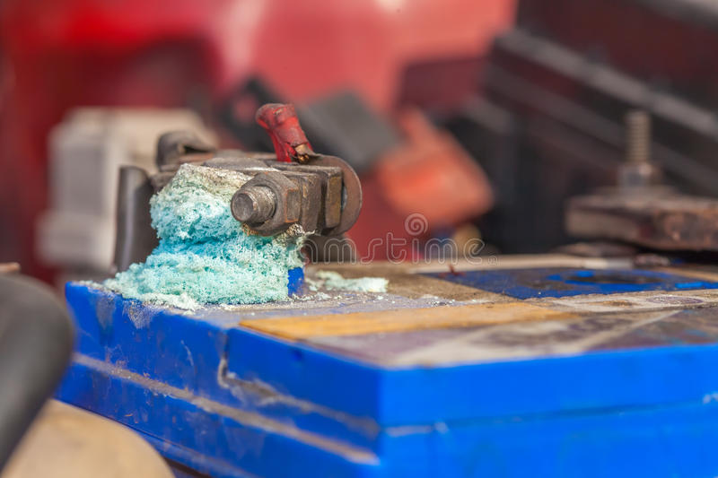 Corrosion on car battery. Corrosion build up on car battery terminals stock images