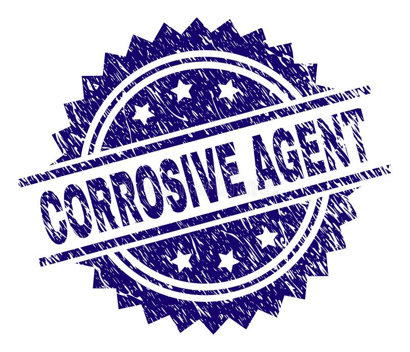 Grunge Textured CORROSIVE AGENT Stamp Seal. CORROSIVE AGENT stamp seal watermark with distress style. Blue vector rubber print of CORROSIVE AGENT tag with stock illustration