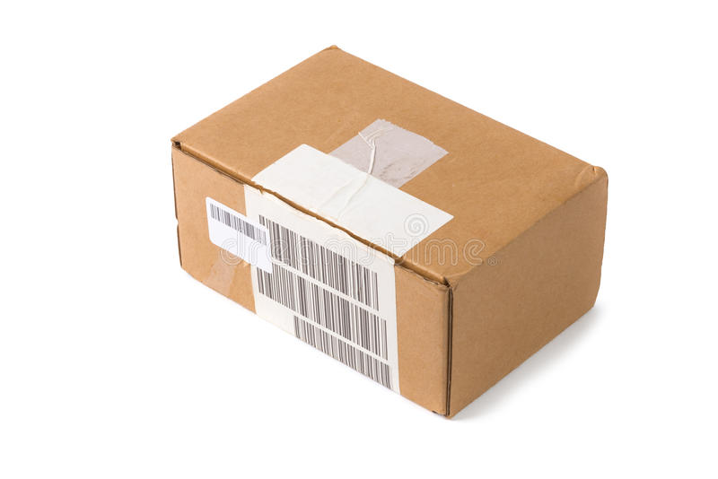 Corrugated cardboard box package. With barcode on white background stock images