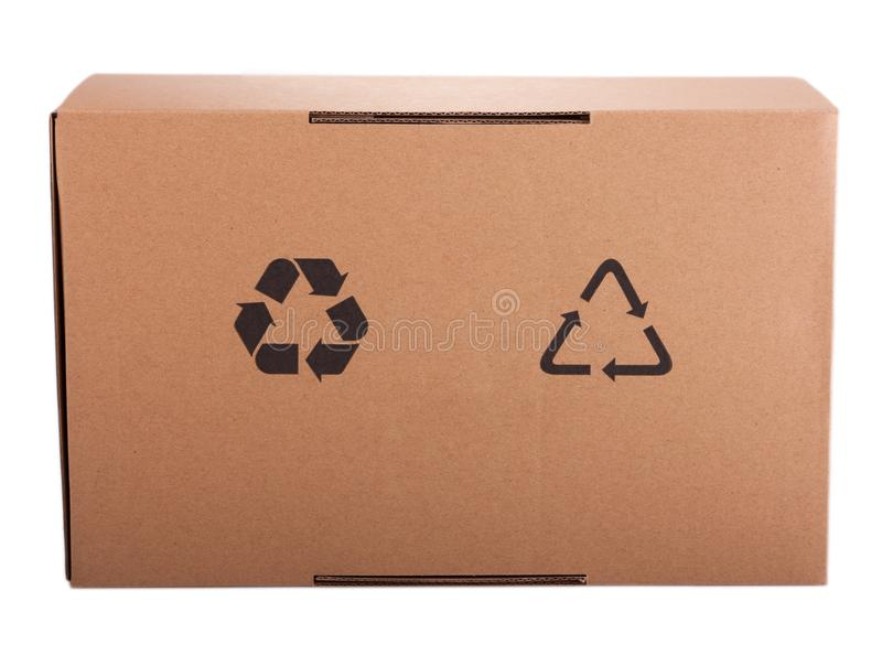 Corrugated cardboard box with recycling icon. Isolated on white royalty free stock image
