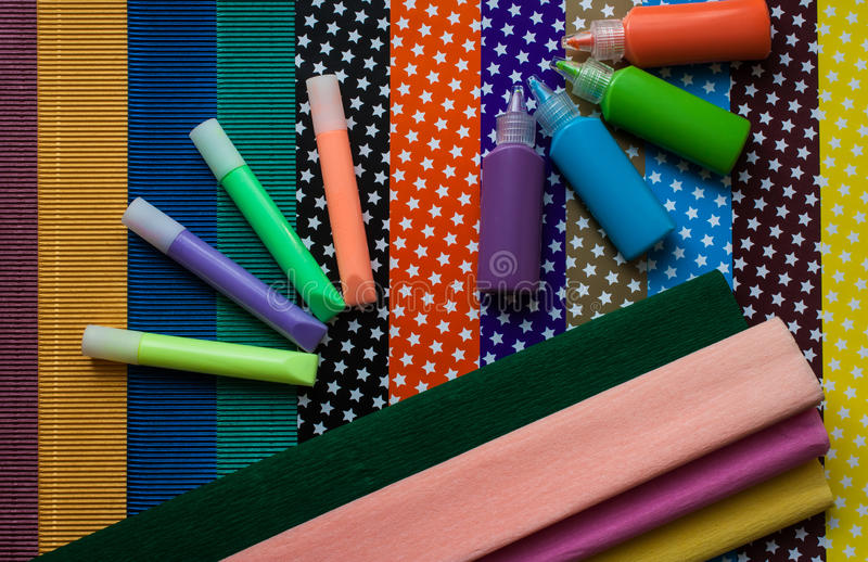 Corrugated cardboard, colored paper, luminous paints, corrugated royalty free stock photos