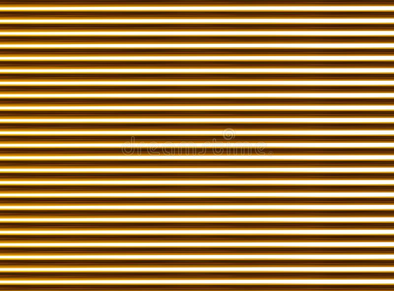 Corrugated golden abstract background. horizontal tubes texture ribbed pattern stock illustration