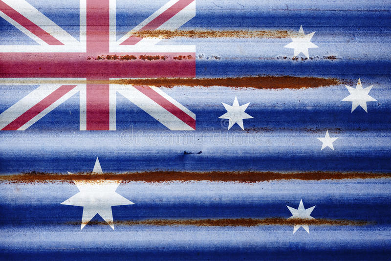 Corrugated Iron Australian Flag Background royalty free stock photo