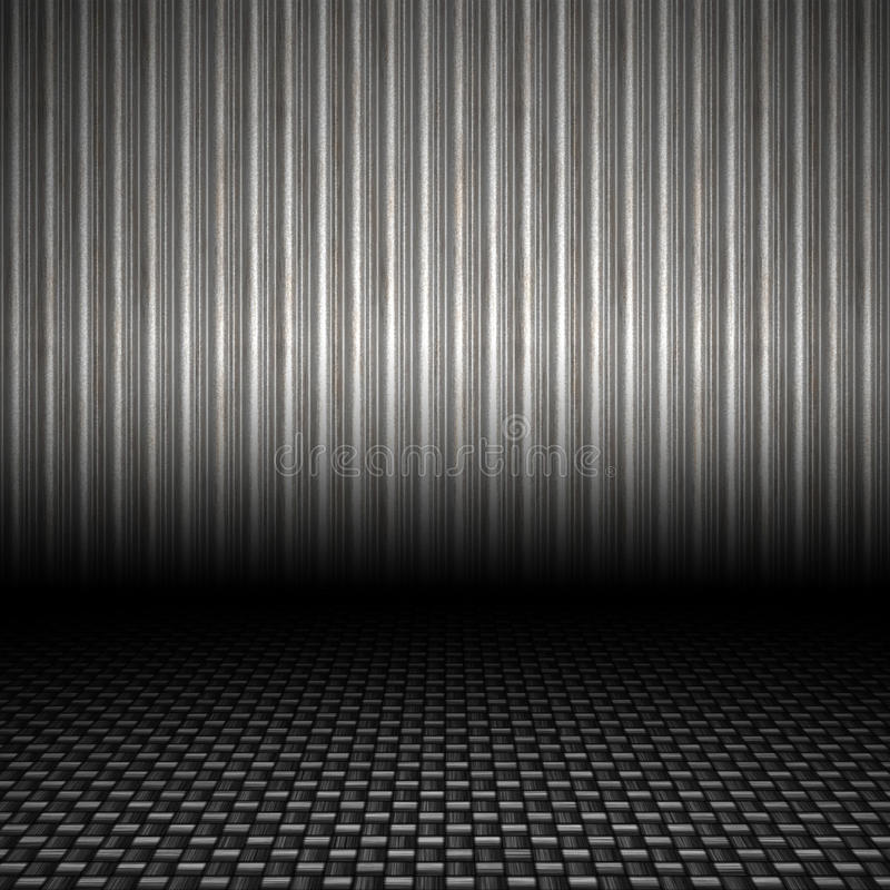 Corrugated Metal Backdrop. A realistic corrugated metal textured backdrop with 3D perspective and a carbon fiber floor vector illustration