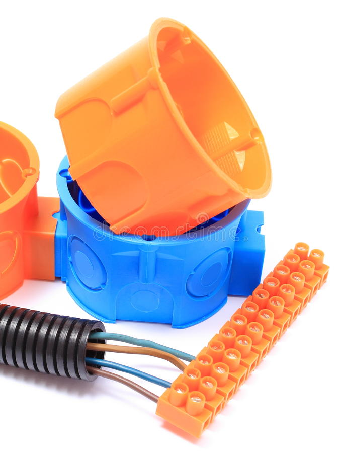 Corrugated pipe, electrical box, cable with connection block stock photos