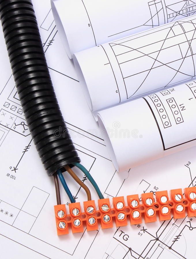Corrugated pipe and electrical cable with connection cube on drawing stock image