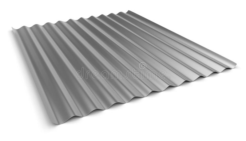 Corrugated sheet of metal. On white vector illustration