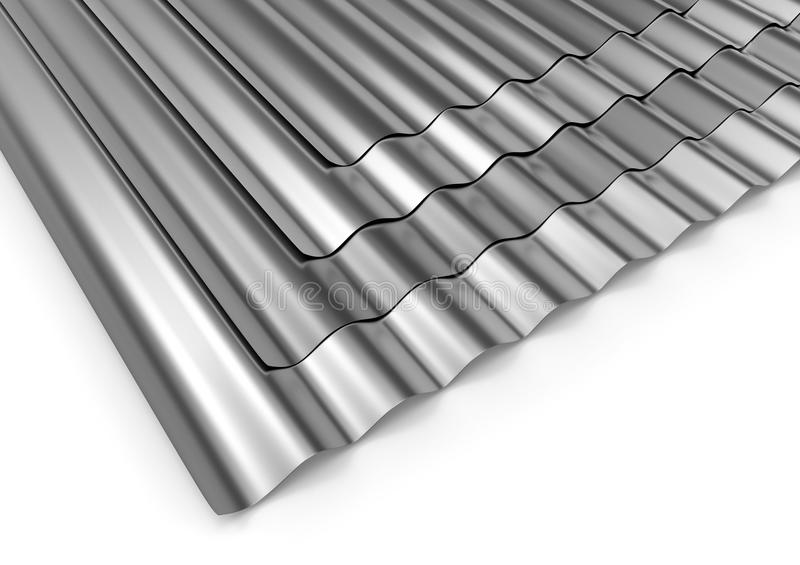 Corrugated sheets of metal. On white vector illustration