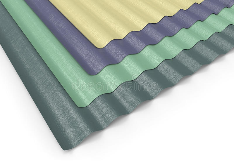 Corrugated sheets of plastic. On white royalty free illustration