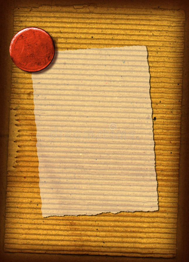Corrugated Texture Collage. This is a collage of a vintage piece of corrugated cardboard with a red button stock photo