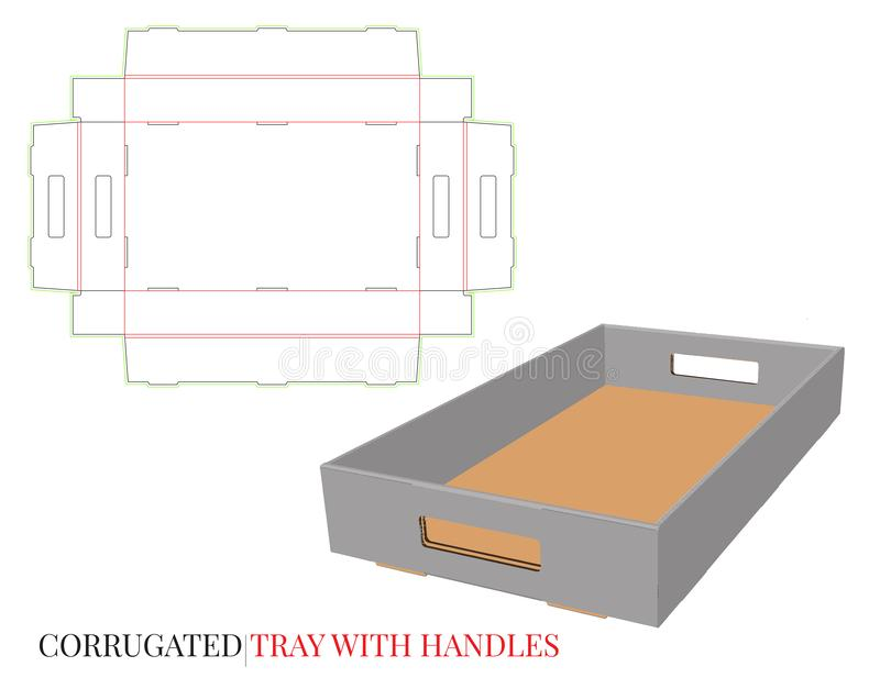 Corrugated Tray Template, Tray with Handles. Vector with die cut / laser cut layers. White, empty, blank, isolated Corrugated Box. Mock up on white background vector illustration