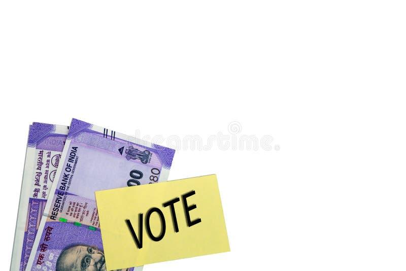 Corrupção política na Índia e no conceito a compra dos votos nas eleições no fundo isolado imagem de stock royalty free