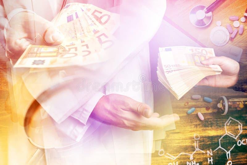 Corrupción en la industria de la atención sanitaria, imagen de varias capas imagenes de archivo