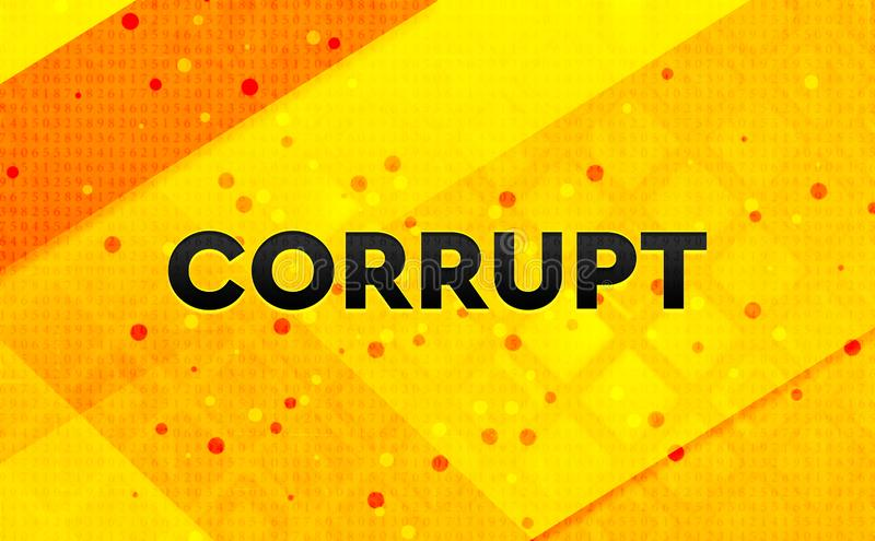 Corrupt abstract digital banner yellow background. Corrupt isolated on abstract digital banner yellow background stock illustration
