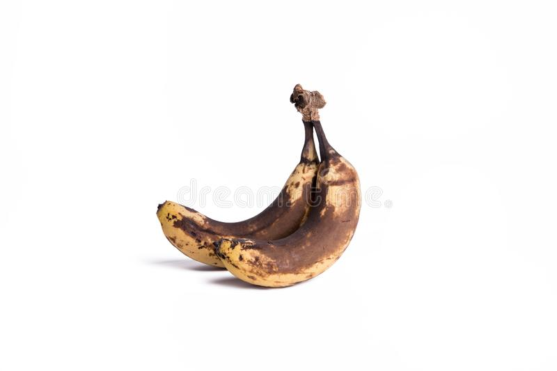 Corrupt fruit. Corrupt Stale Little moisture Aged Metamorphic Banana Fruits White bottom photos royalty free stock photos