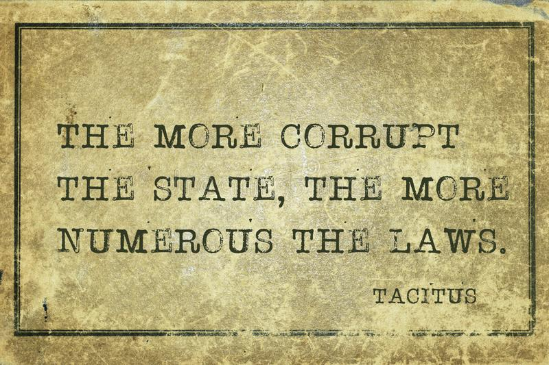 Corrupt state Tacitus. The more corrupt the state, the more numerous the laws - ancient Roman senator and a historian Tacitus quote printed on grunge vintage vector illustration
