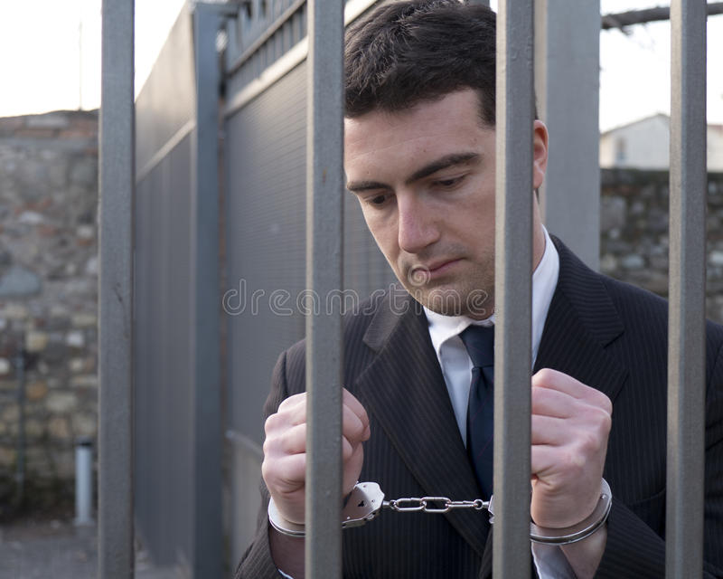 Corrupted Bribery Manager In Jail Stock Images