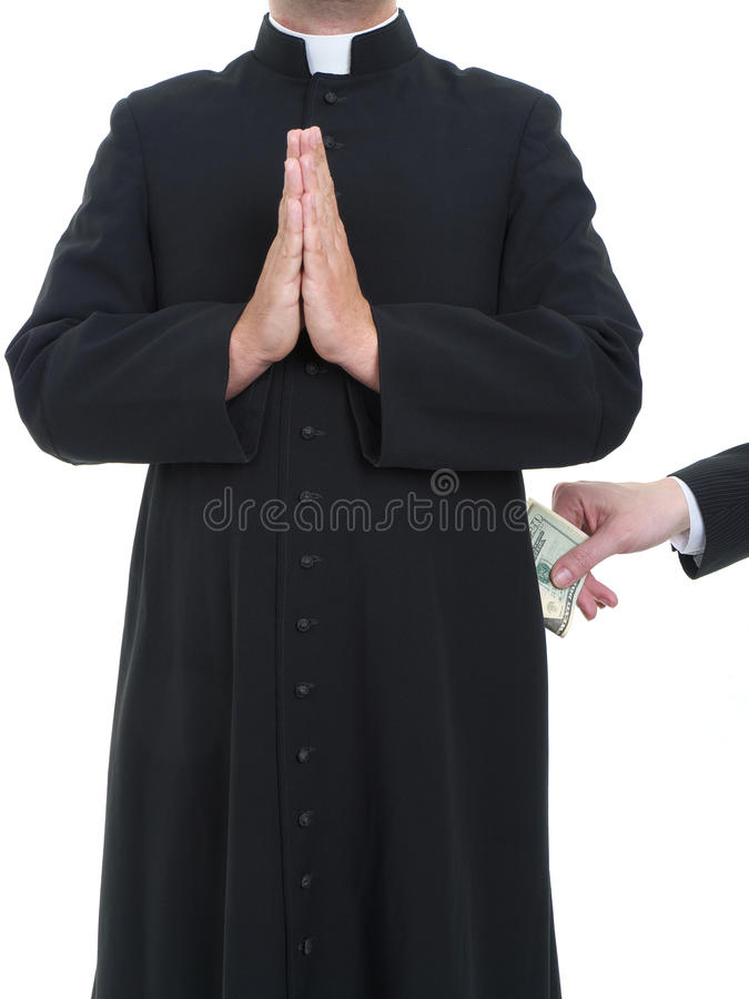 Corruptible priest. Catholic priest receiving bribe from businessman royalty free stock photography