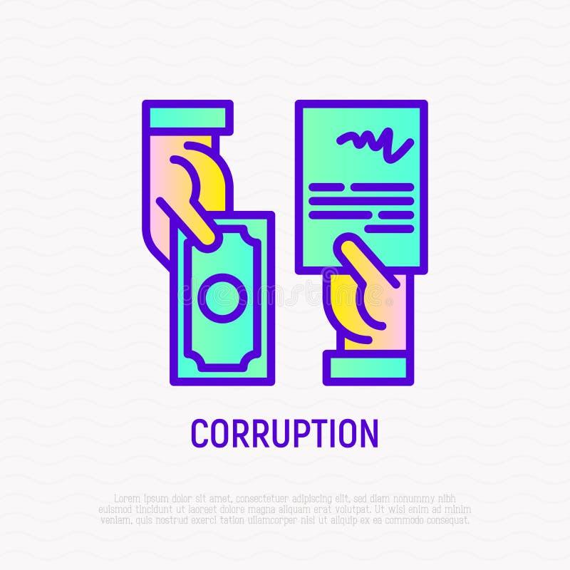 Corruptiepictogram: overeenkomst in uitwisseling van geld vector illustratie