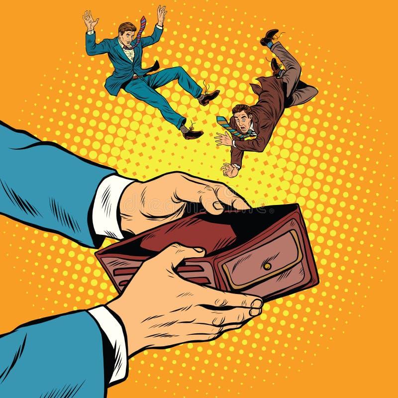 Corruptiesteekpenning afhankelijk van de geldmensen stock illustratie
