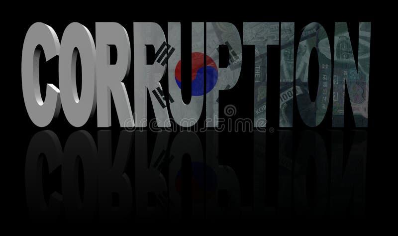 Corruptietekst met de vlag van Zuid-Korea en muntillustratie royalty-vrije illustratie