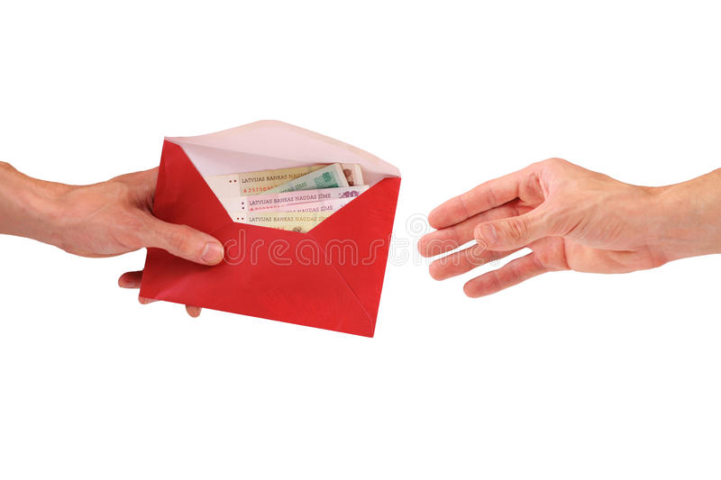Corruption. Hand give envelope with money stock photo