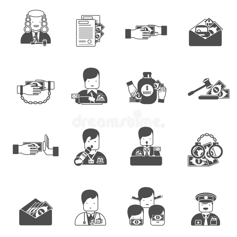 Corruption Black Icons. Set with bribe prison budget isolated vector illustration stock illustration