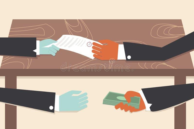 Corruption drawing illustrator conceptual cartoon. royalty free illustration
