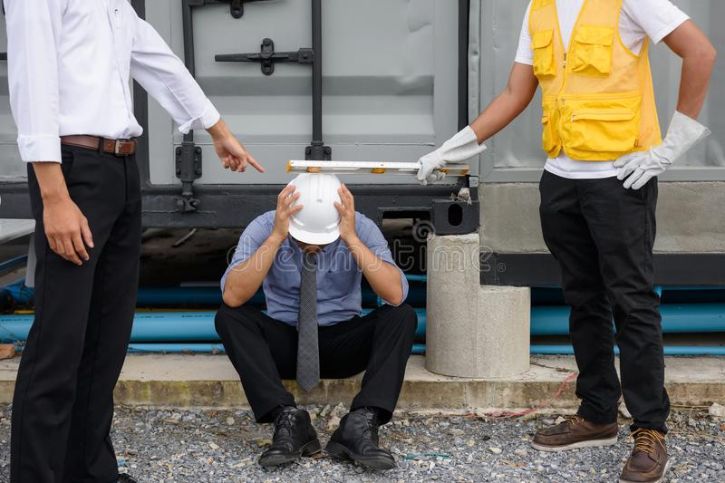 Corruption Engineer manager arrested and punished stock image
