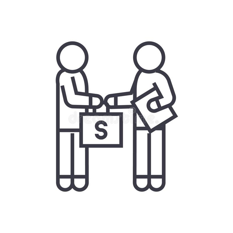 Corruption et corruption, homme donnant à argent l'icône linéaire, signe, symbole, vecteur sur le fond d'isolement illustration de vecteur