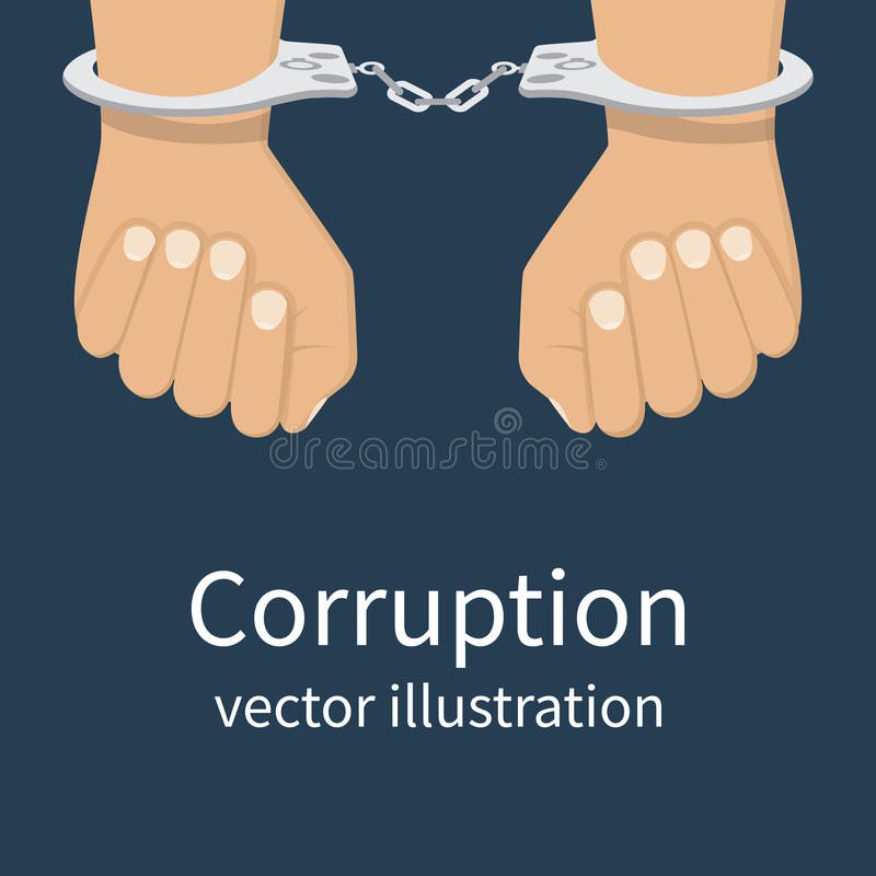 Corruption icon vector. Handcuffs on hands. Corruption icon. Anti corruption concept. Vector illustration, flat design style. Bribery vector vector illustration