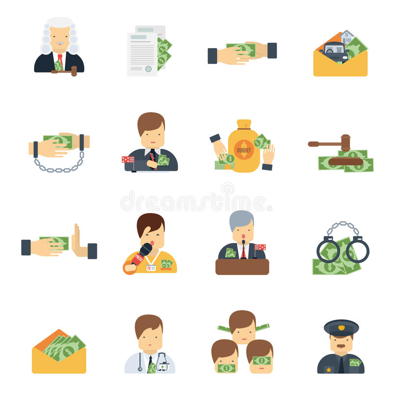 Corruption Icons Flat vector illustration