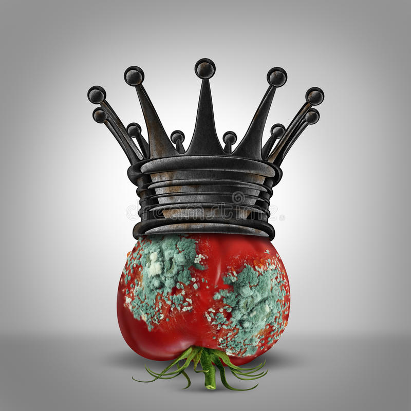 Corruption Leadership. Concept as a rotten tomato with mold wearing a rusted king crown as a business metaphor for a corrupt leader or oppressor slowly rotting vector illustration