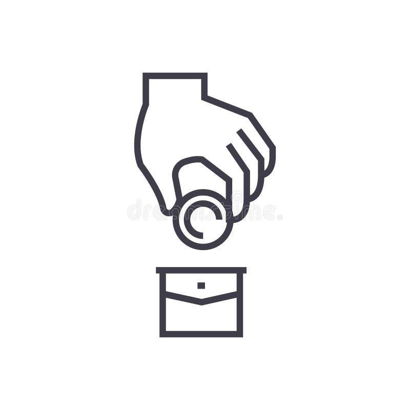 Corruption,money in pocket,donation vector line icon, sign, illustration on background, editable strokes vector illustration